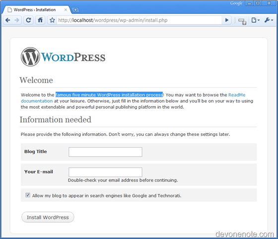 Web Platform Install WordPress homepage