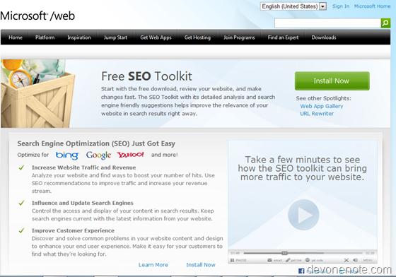 Microsoft SEO Toolkit download