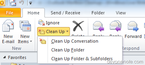 outlook clean up conversion