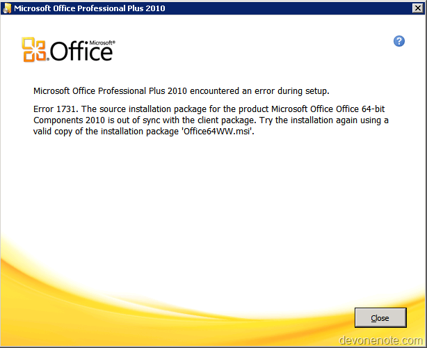 Installation Package For The Product Microsoft Office 64 Bit Components 2010 Is Out Of Sync With Client As Shown In This Screenshot