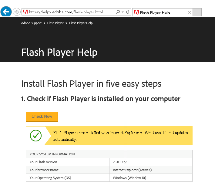 Enable Flash Player for Windows Server 2016 | Developer OneNote